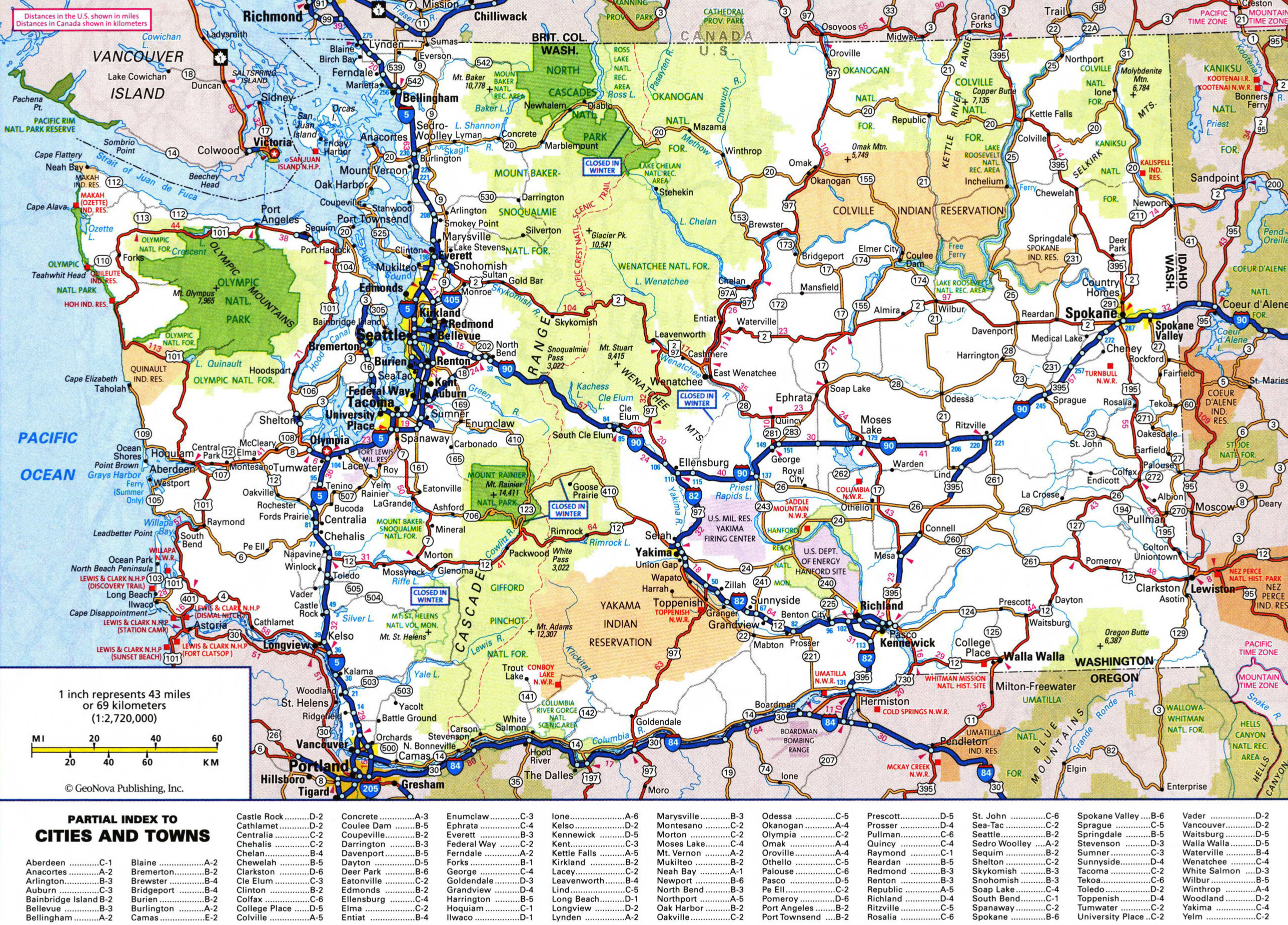 Large detailed roads and highways map of Washington state with ...