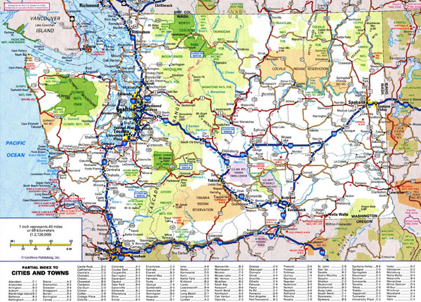 Large detailed roads and highways map of Washington state with national parks and all cities.
