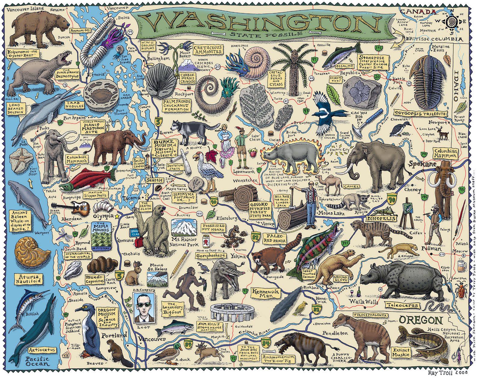 Large detailed tourist illustrated map of Washington state – Washington Tourist Map
