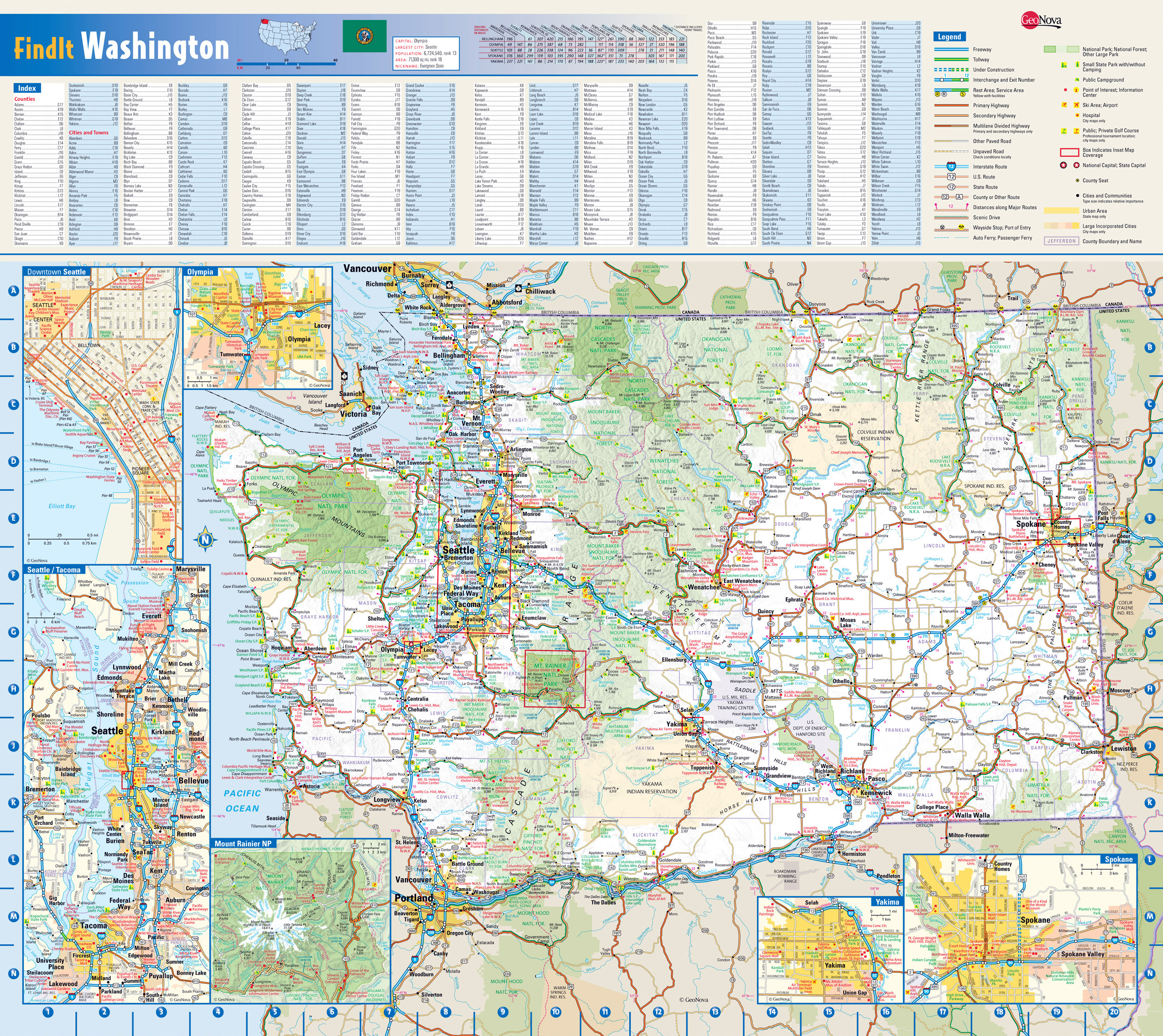 Large Roads And Highways Map Of Washington State With National - Usa map with cities and states