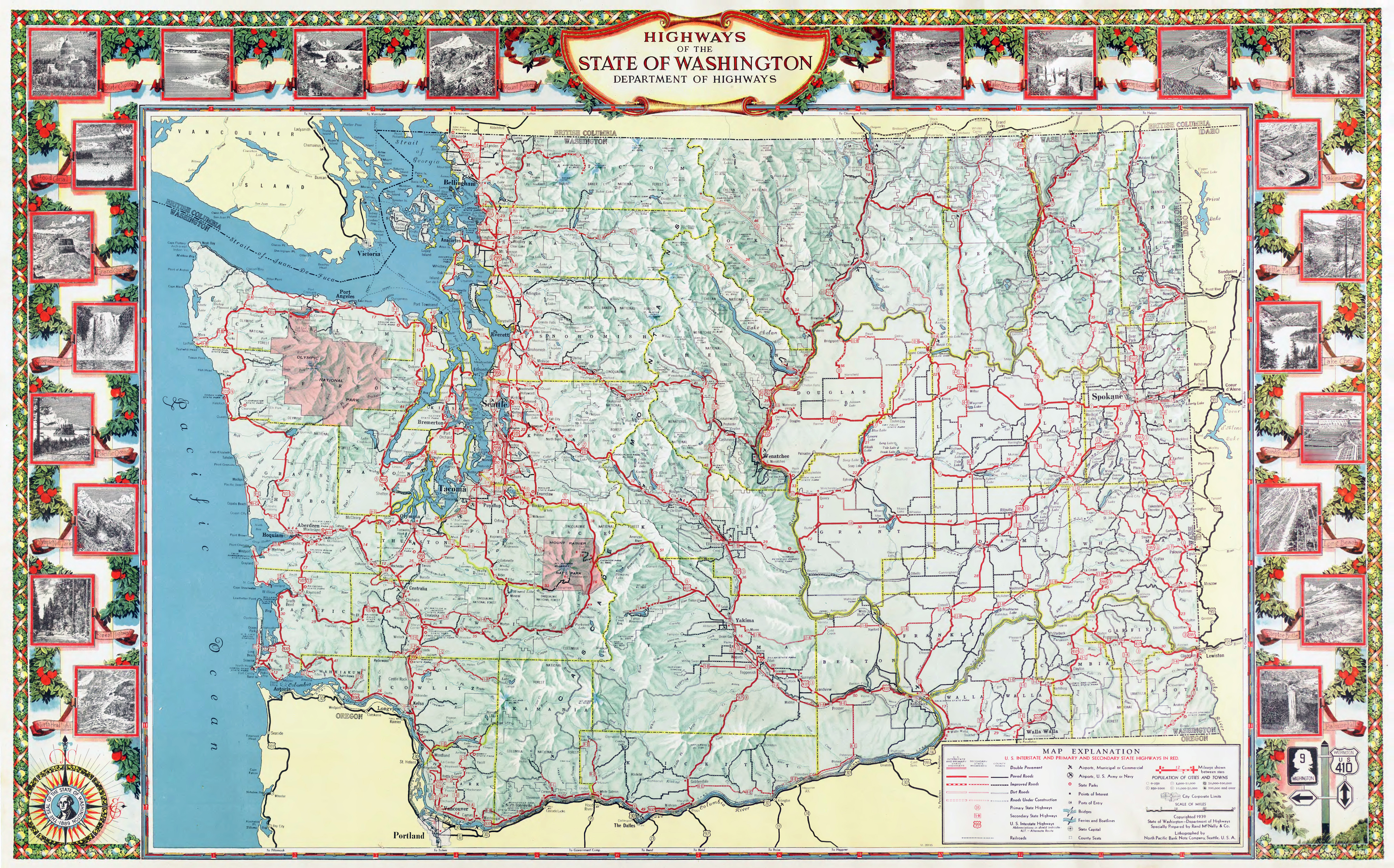 Large Scale Detailed Highway Map Of The State Of Washington With - State of washington map