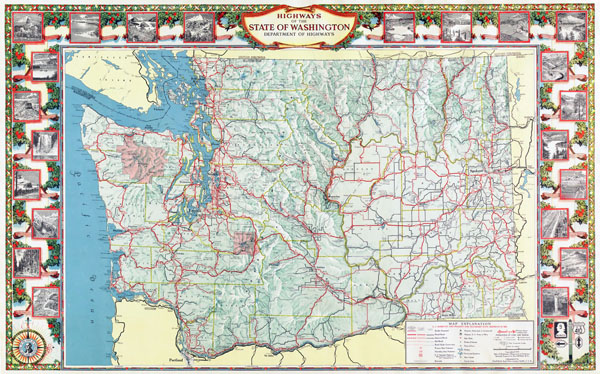 Large scale detailed highway map of the state of Washington with relief.