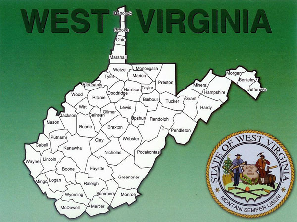 Administrative map of West Virginia state.