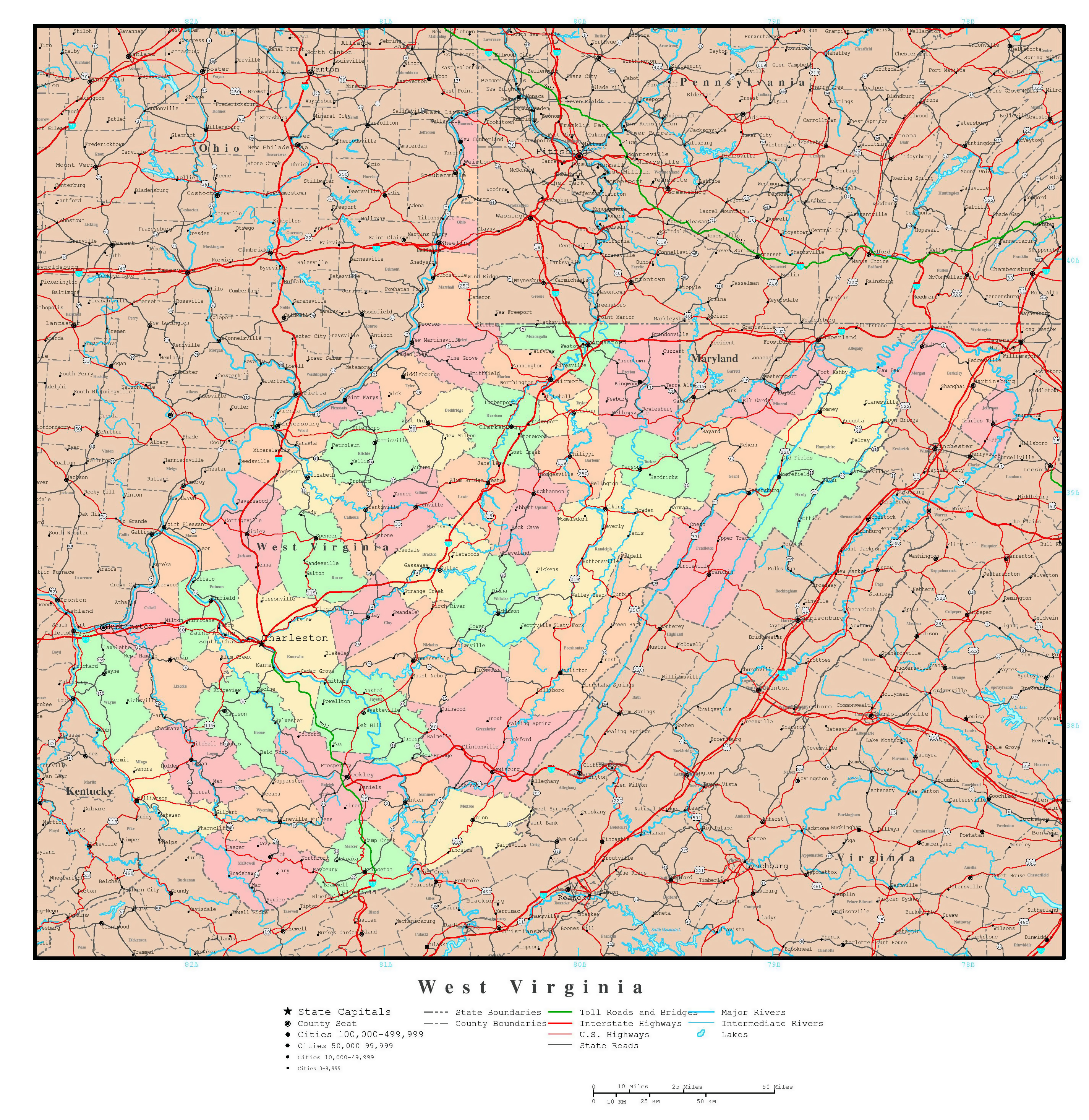 Large detailed administrative map of West Virginia state ...