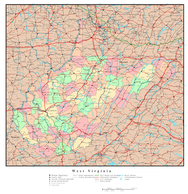 Large detailed administrative map of West Virginia state with roads, highways and major cities.