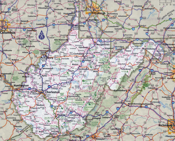 Large detailed roads and highways map of Virginia and West Virginia with all cities.