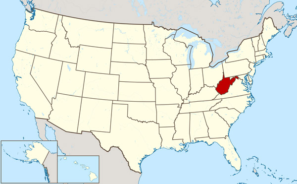 The state of West Virginia large location map.