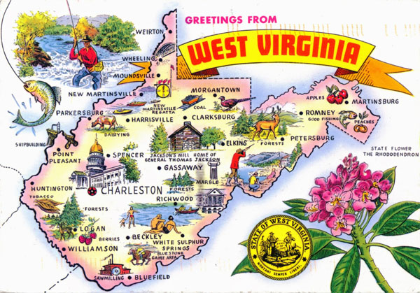 Large tourist illustrated map of the state of West Virginia.