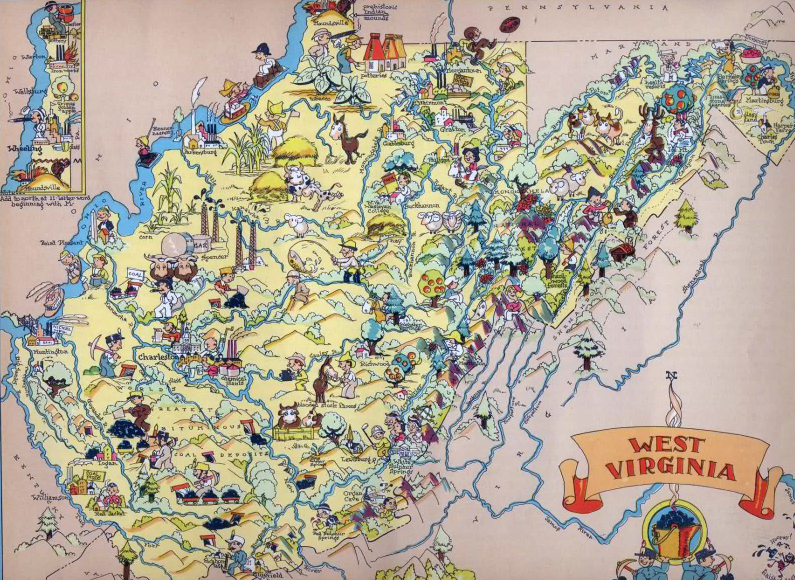 Large tourist illustrated map of West Virginia. West Virginia large ...