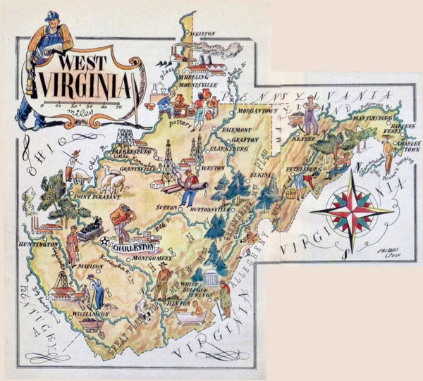 Large tourist illustrated map of West Virginia state.