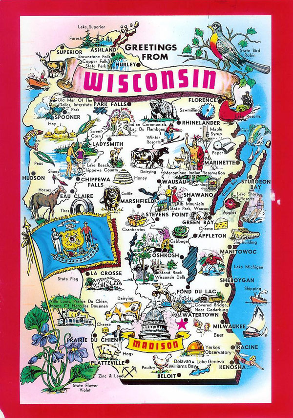 Detailed tourist illustrated map of Wisconsin state.