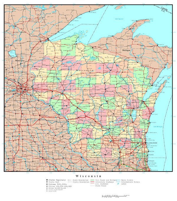 Large detailed administrative map of Wisconsin state with roads, highways and major cities.
