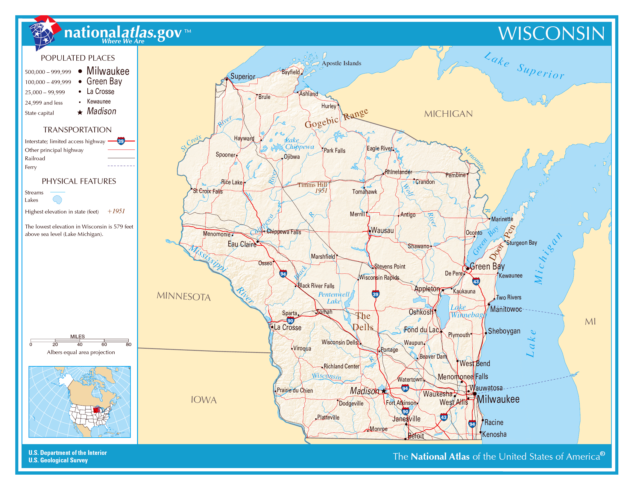 Large Detailed Map Of Wisconsin State Wisconsin State Large