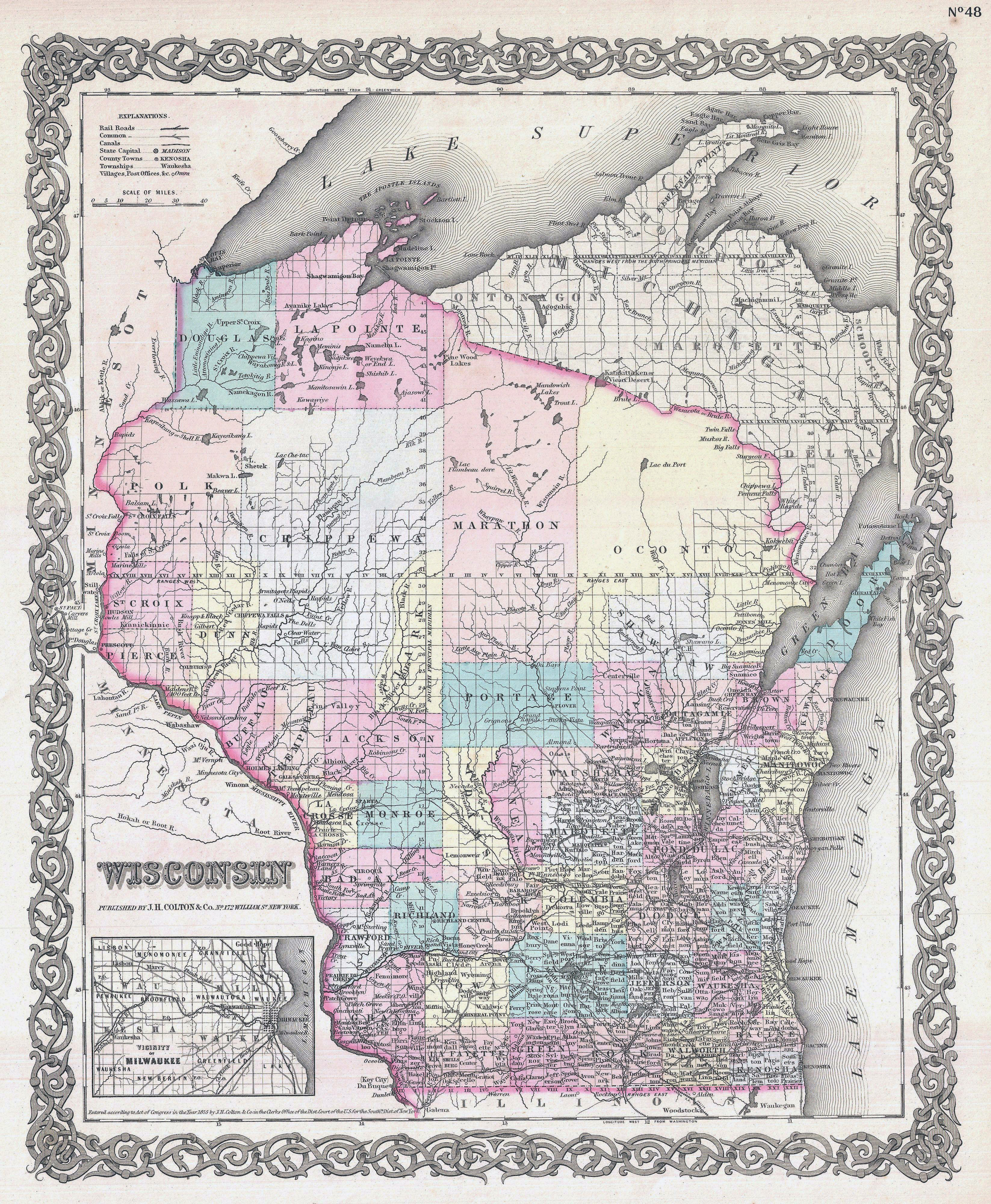 Large Detailed Old Administrative Map Of Wisconsin State