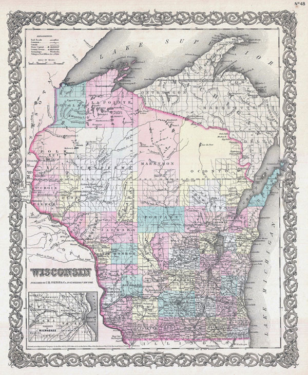 Large detailed old administrative map of Wisconsin state - 1855.