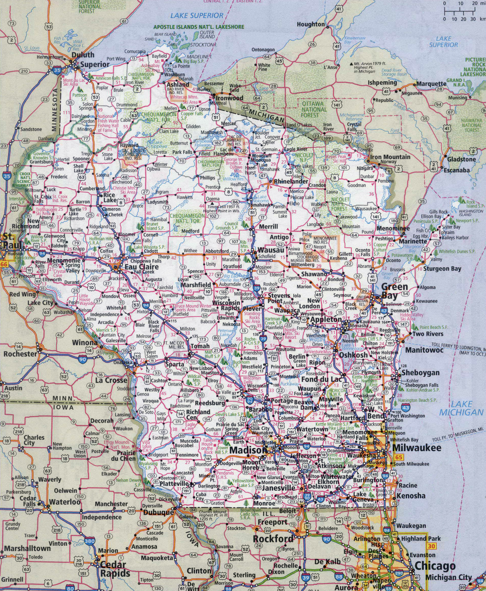 Large detailed roads and highways map of Wisconsin state with all