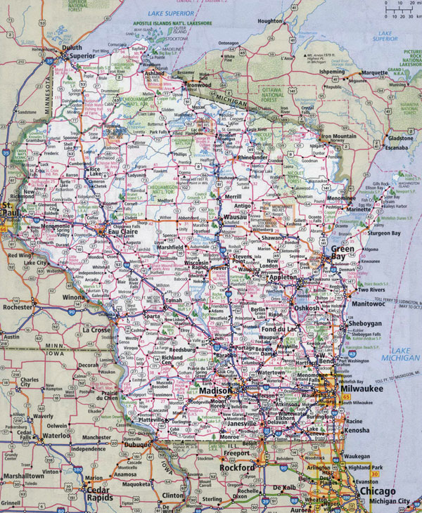 Large detailed roads and highways map of Wisconsin state with all cities.