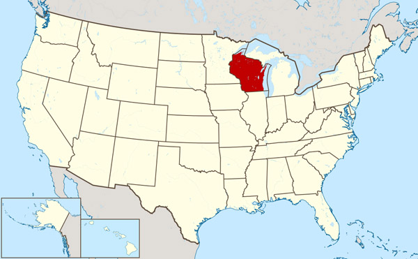 Large location map of the state of Wisconsin. Wisconsin large location map.