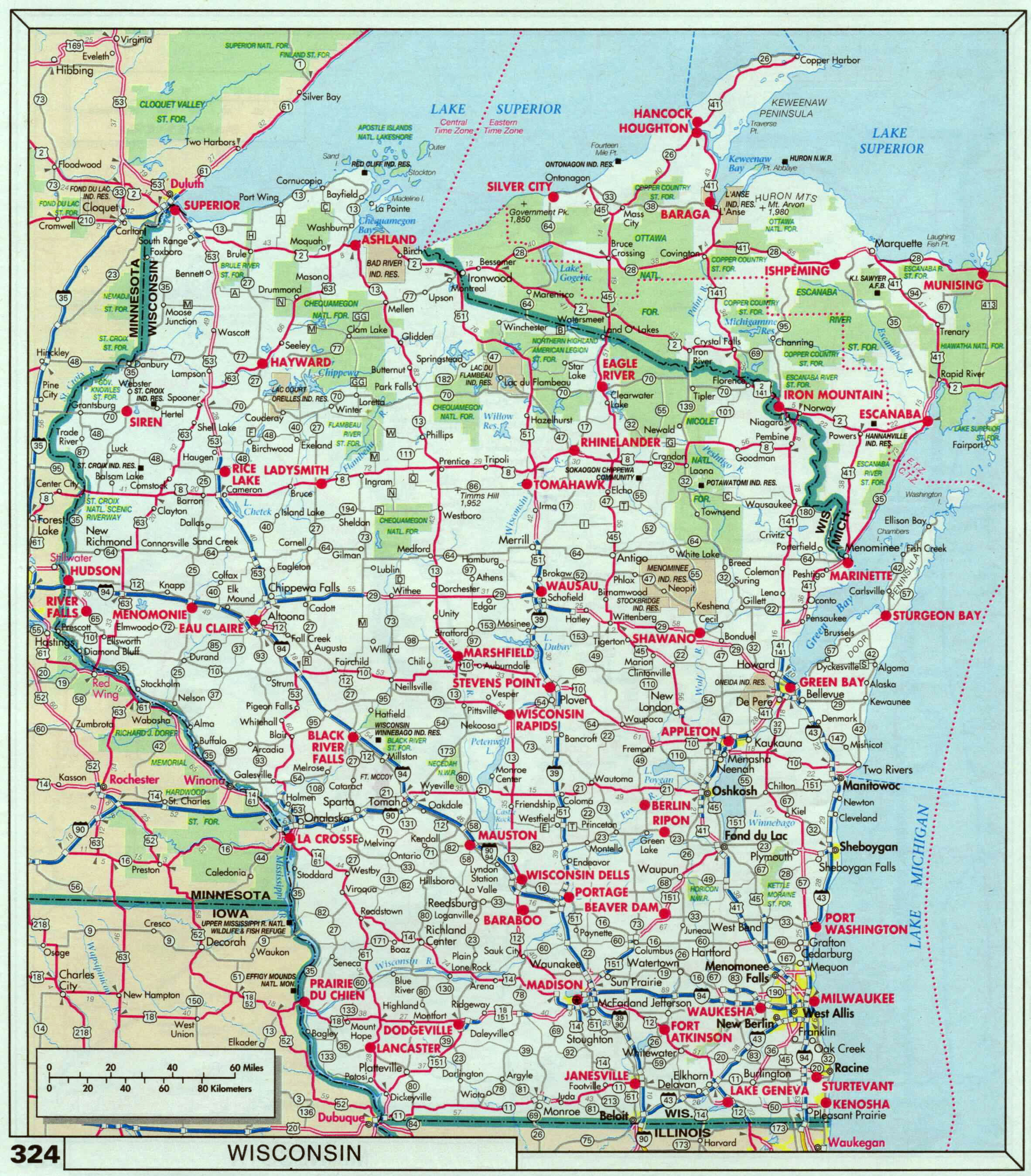 Large roads and highways map of Wisconsin state with national parks