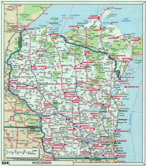 Large Roads And Highways Map Of Wisconsin State With