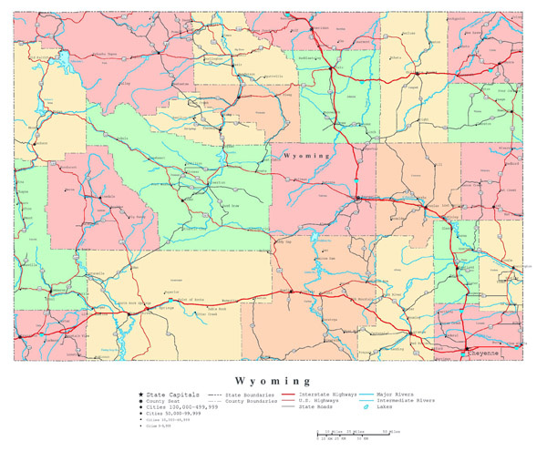 Large detailed administrative map of Wyoming state with roads, highways and cities.