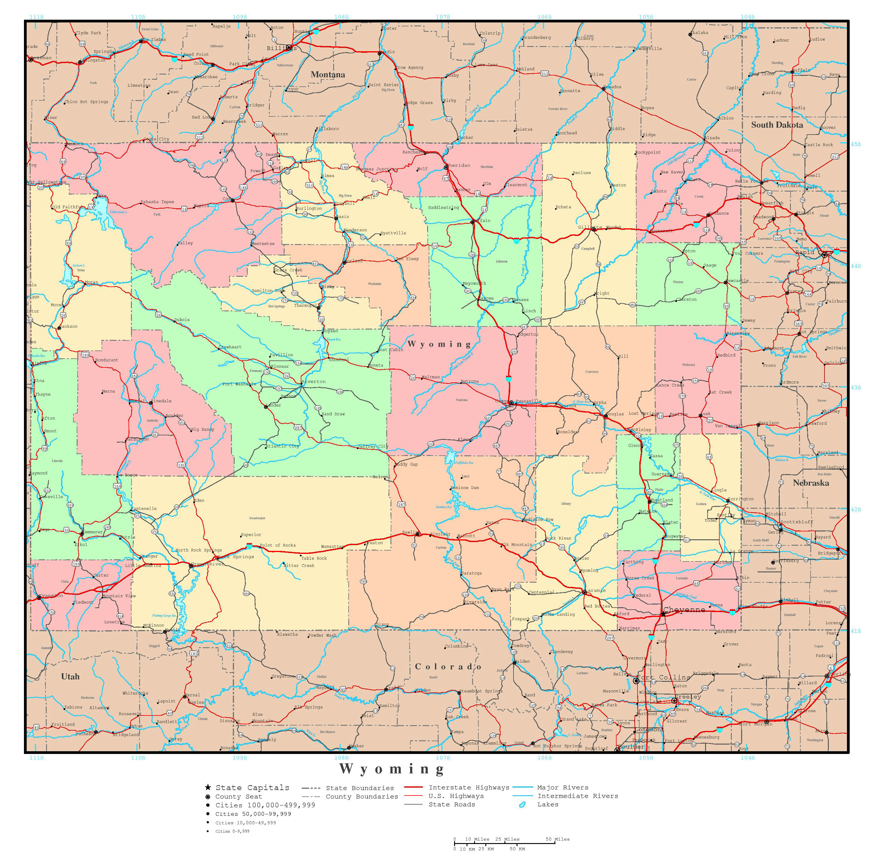 Large Detailed Administrative Map Of Wyoming State With Roads - Wyoming map with cities