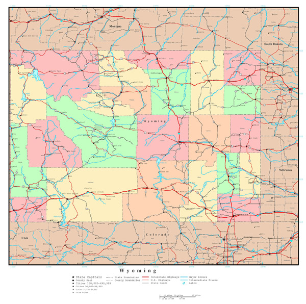 Large detailed administrative map of Wyoming state with roads, highways and major cities.
