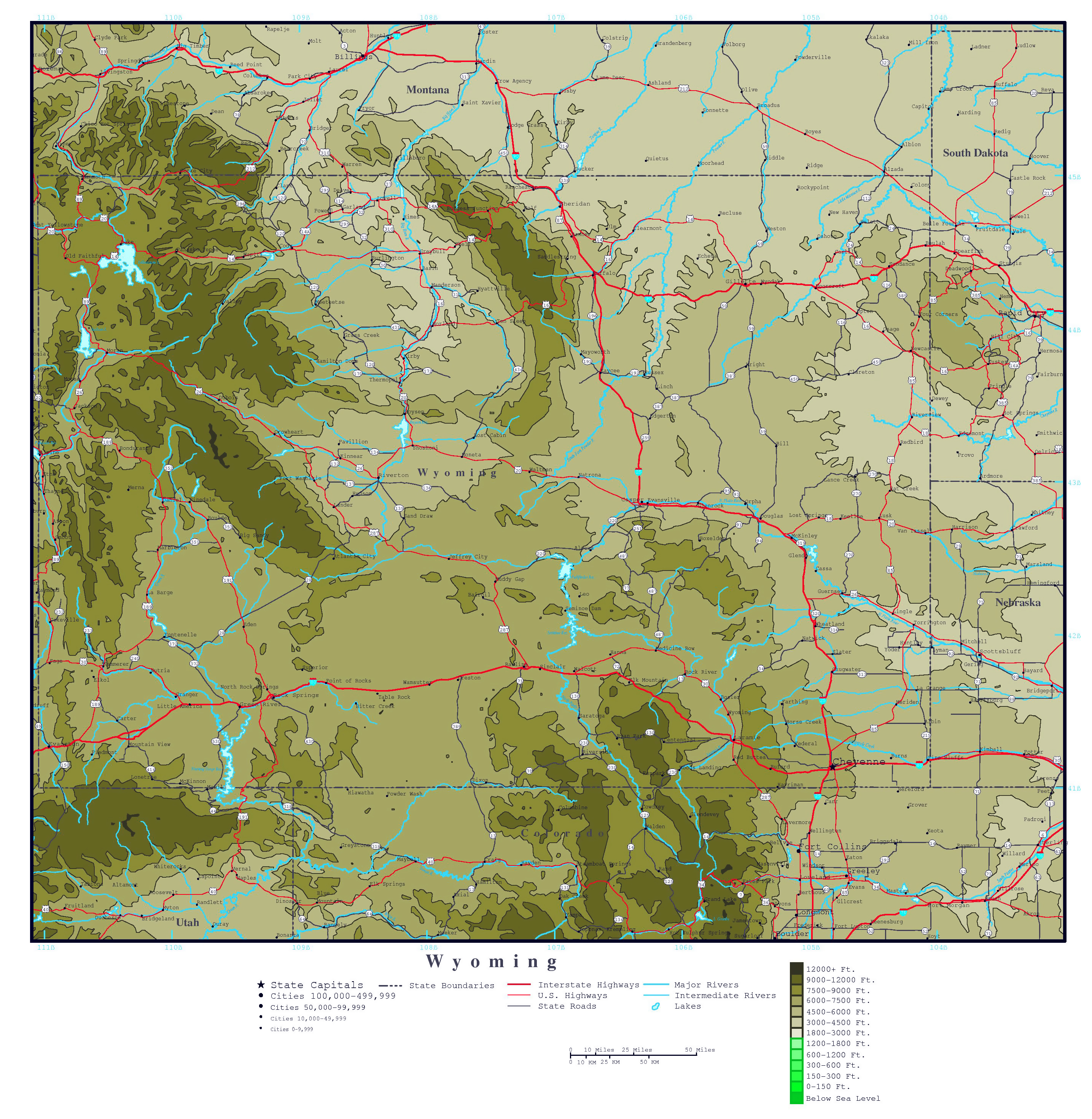 Wyoming Map Of Cities.Large Detailed Elevation Map Of Wyoming State With Roads Highways