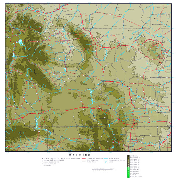 Large detailed elevation map of Wyoming state with roads, highways and cities.