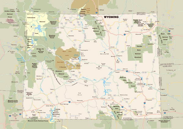 Large detailed map of Wyoming with national parks, highways, roads and major cities.