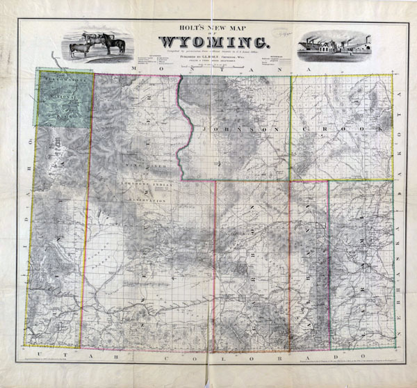 Large detailed old administrative map of Wyoming state - 1883.