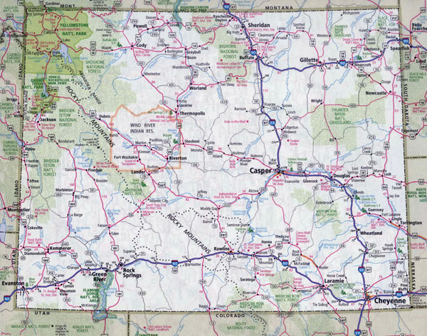 Large detailed roads and highways map of Wyoming state with all cities.