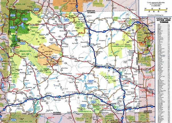 Large detailed roads and highways map of Wyoming state with national parks and cities.