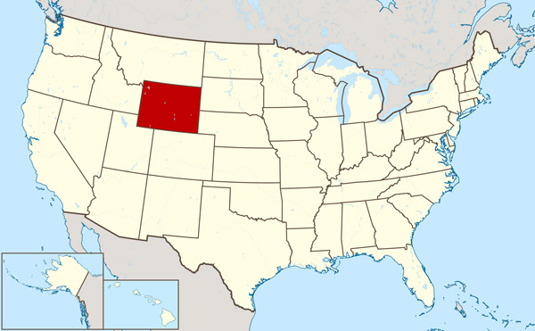 The state of Wyoming large location map.