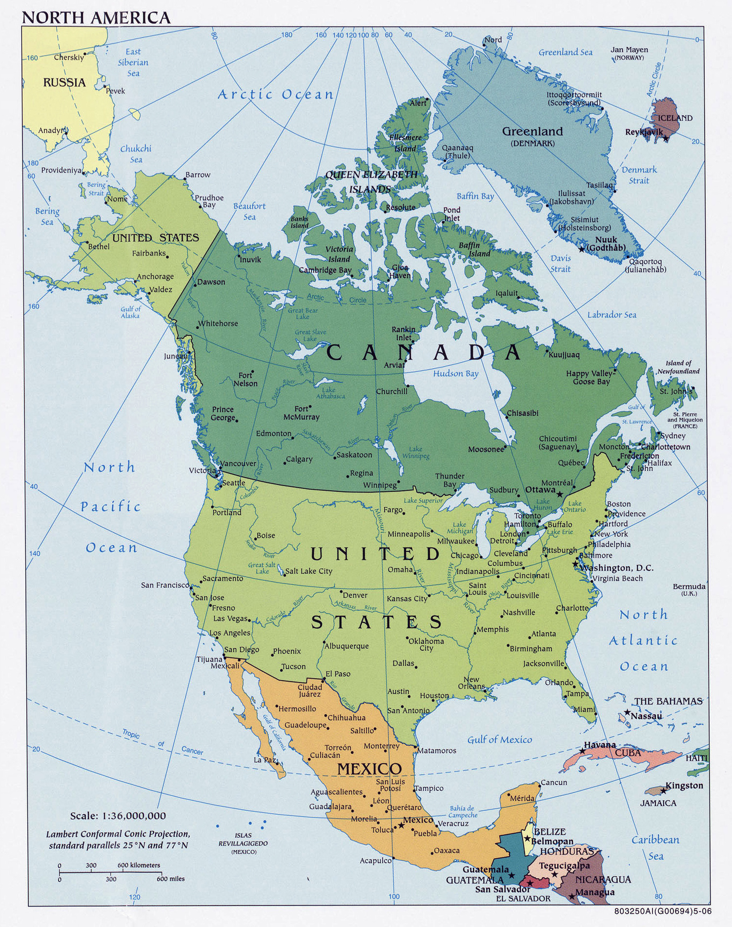 North America detailed political map Detailed political map of North America