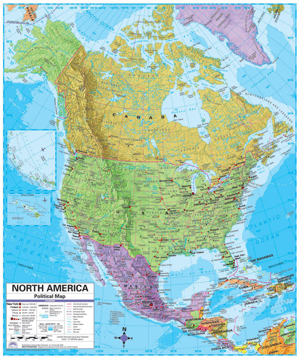 North America large detailed political and relief map with cities.