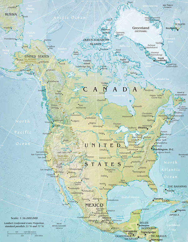 North America large physical and relief map.