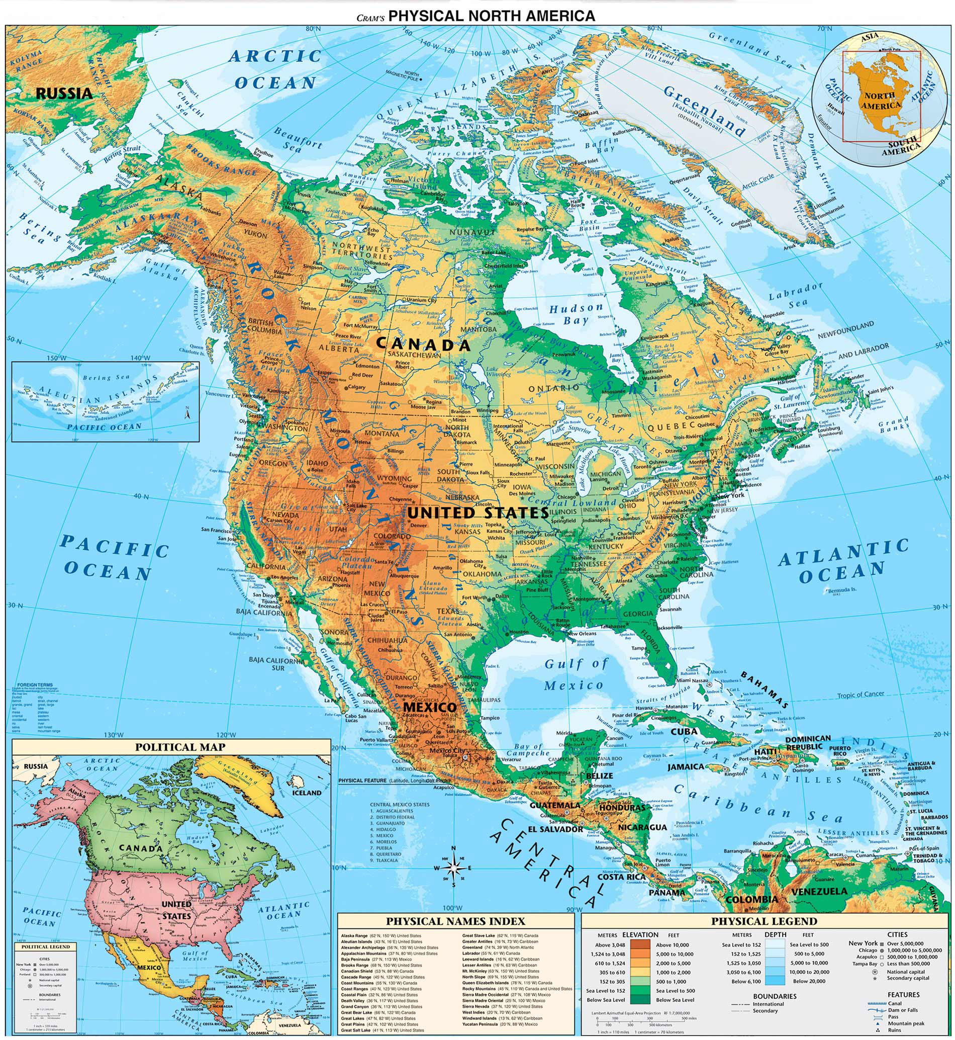 Online Maps North America Physical Map - Physical-map-of-us-and-canada