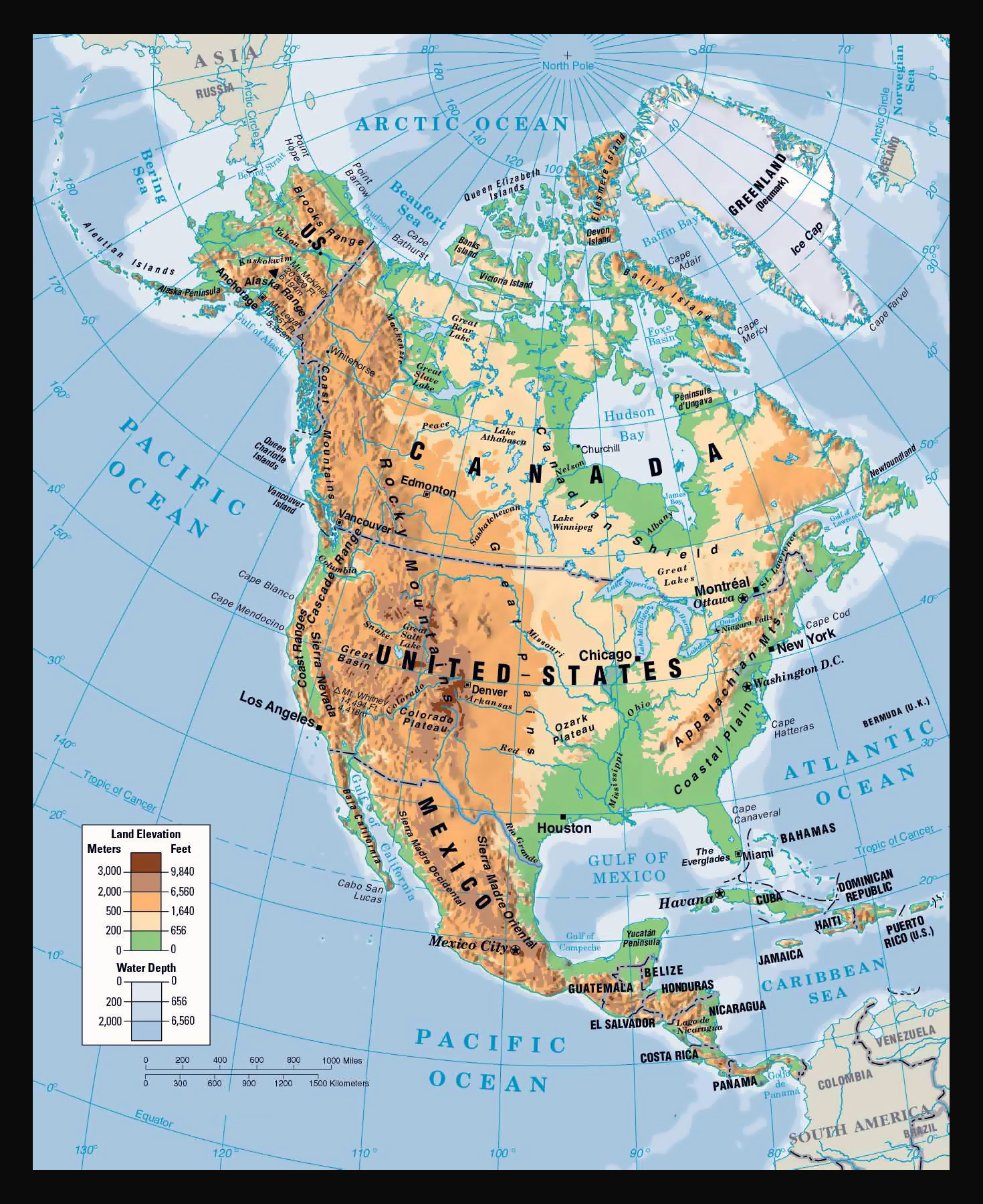 Physical map of North America North America physical map Vidiani
