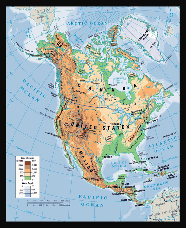 Physical map of North America.