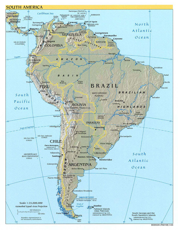 Detailed political and relief map of South America.