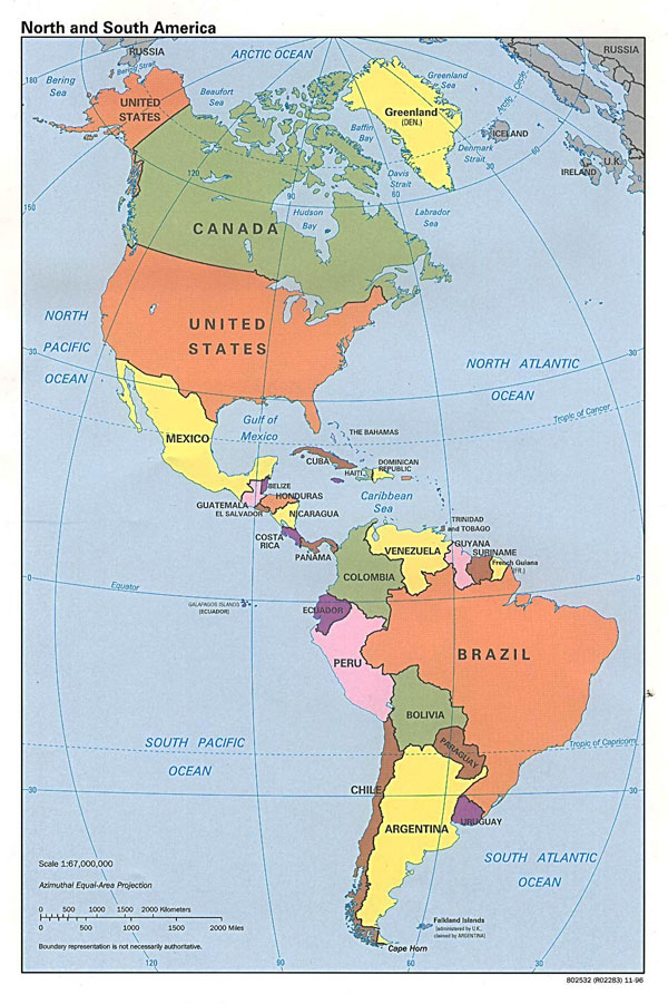 Detailed political map of North and South America - 1996.