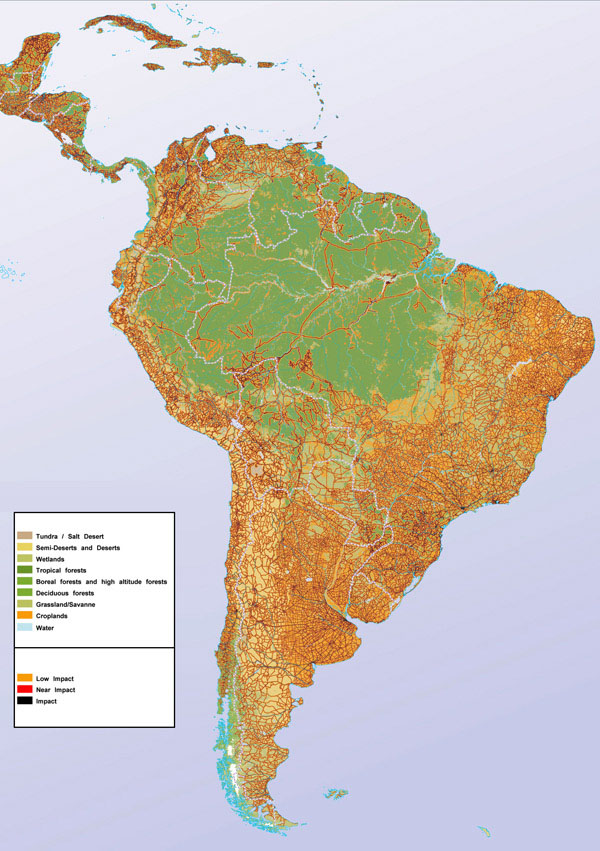 Large detailed human impact map of South America.