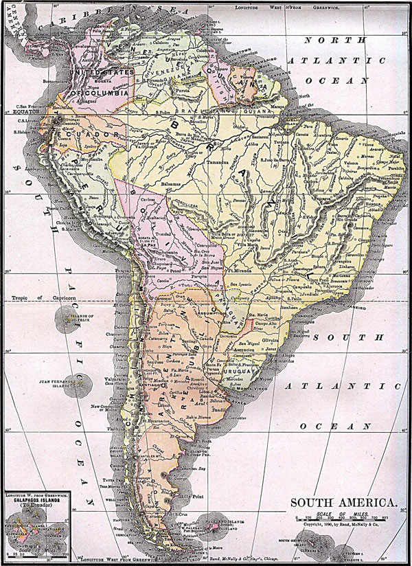 Large detailed old political map of South America 1892.