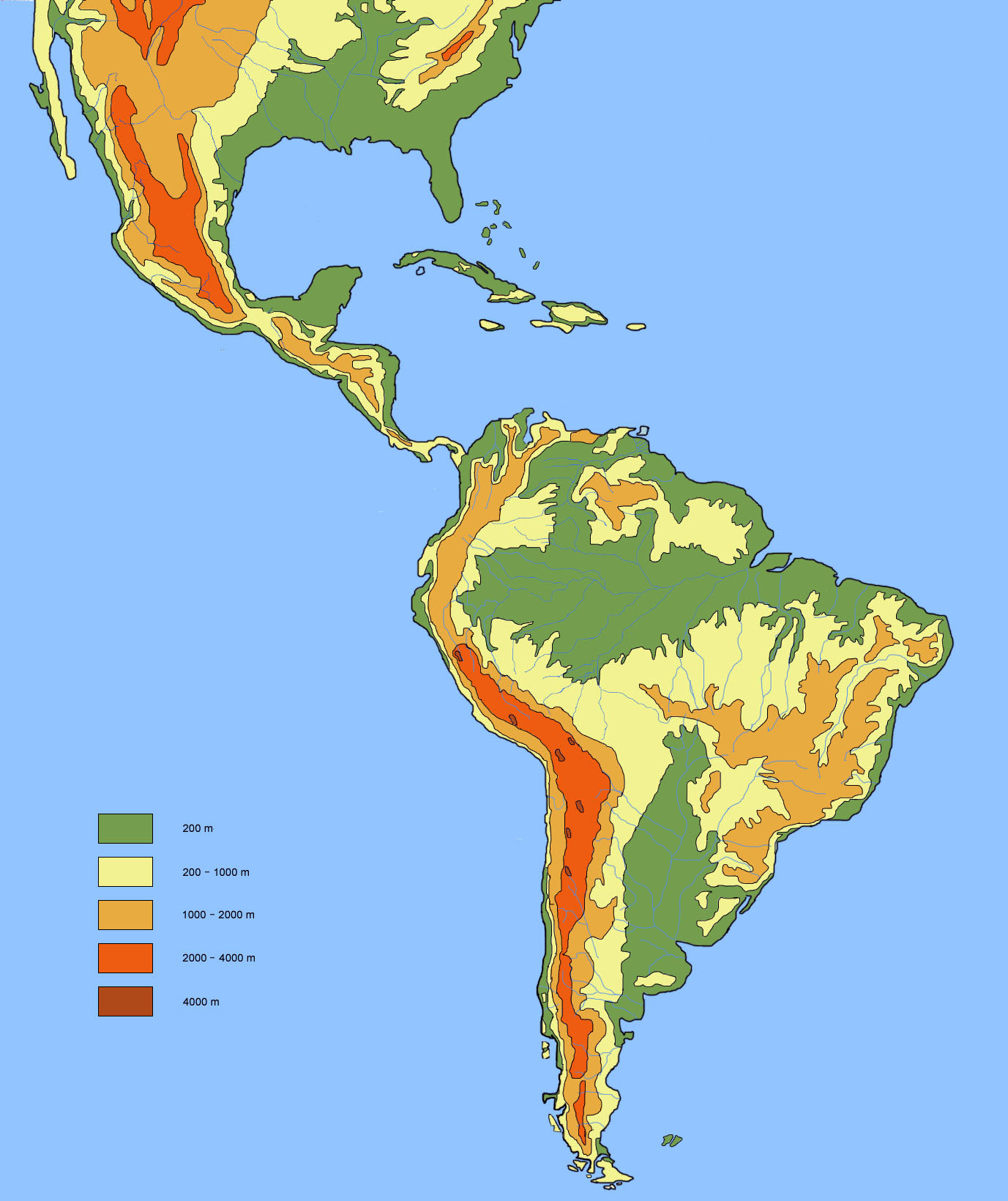 Large detailed physical and hydrographic map of latin for America todo un inmenso jardin eso es america