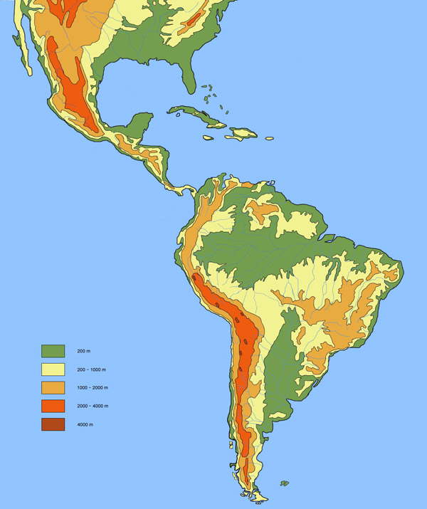 Large detailed physical and hydrographic map of Latin America.