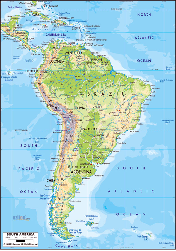 Large detailed physical map of South America with roads.