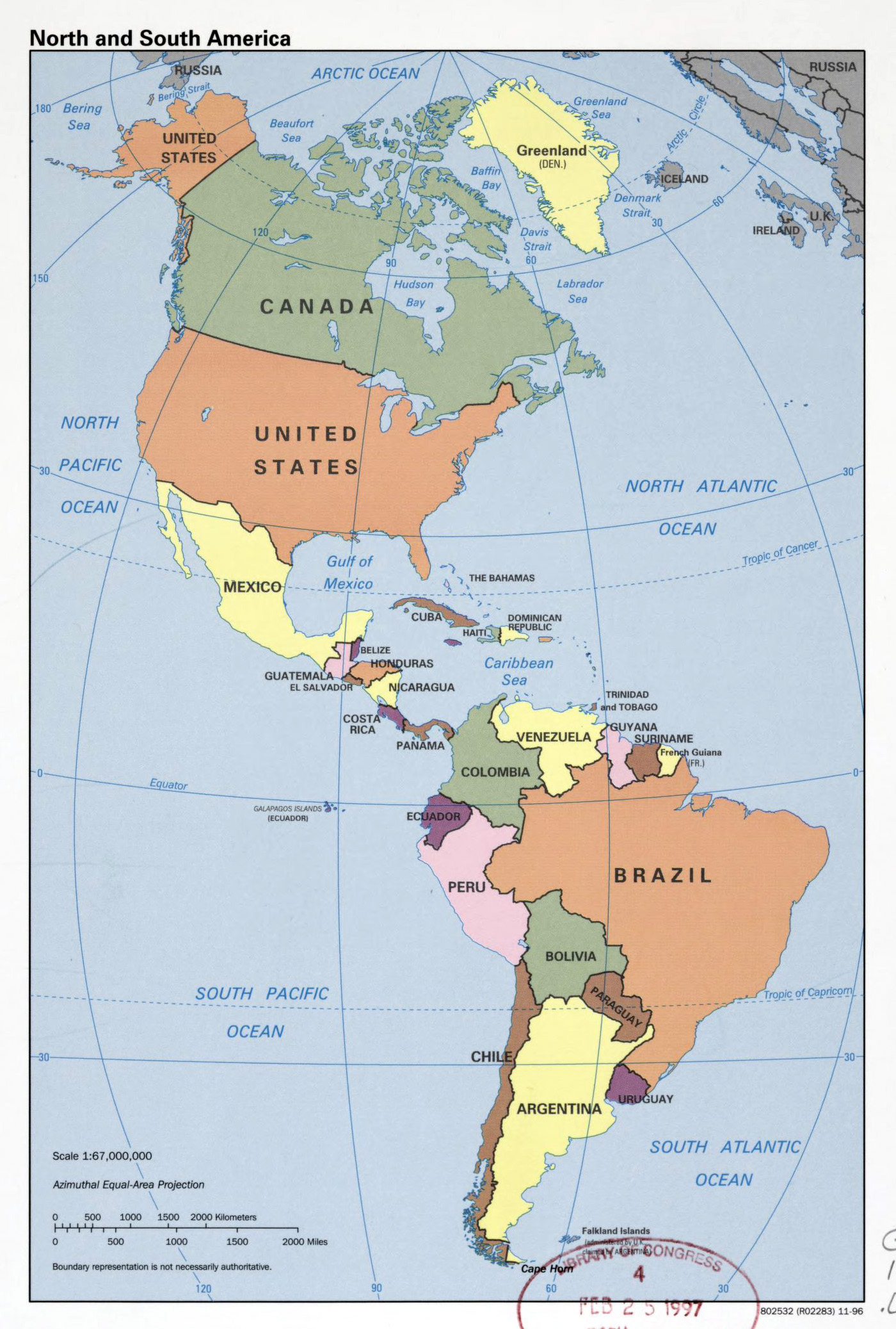 large detailed political map of north and south america – 1996