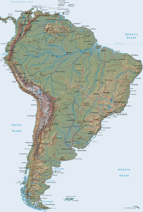 Large detailed relief map of South America.