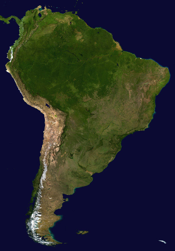 Large detailed satellite map of South America.